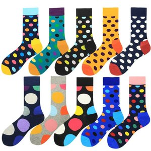 Casual Men Socks Fashion Design Plaid Colorful Happy Business Party Dress Cotton Socks Striped Crew Big Size