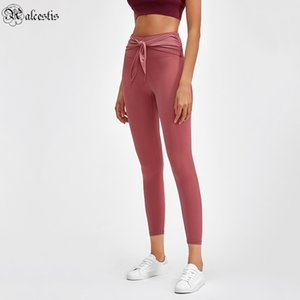 Fashion Bandage Skin-friendly Nude Yoga Pants High Waist Hip Hip Slim Body Shaping Abbigliamento esterno Sport Pantaloni da nove punti