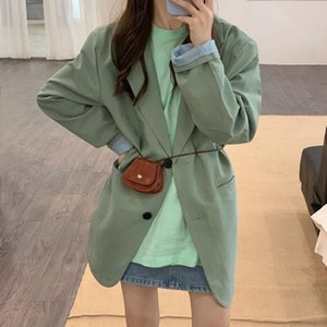 HziriP Green Gentle Office Lady Full-Sleeved Loose 2021 Chic Autumn All Match Casual High Quality Women Elegant Blazers