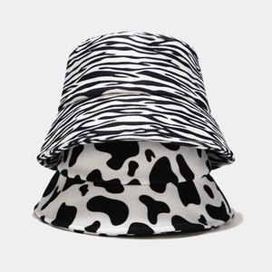 New Foldable Hat Womens Thick Wool Cow pattern Warm cap Winter Autumn Cap Ladies Fashion Clothes Outdoor Sun Protection Fisherman Hats