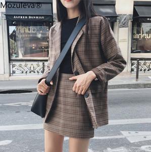 Mozuleva Retro Plaid Blazer Set Single-breasted Jacket & Pencil Skirt 2 Pieces Skirt Suit Female Office Ladies Blazer Suit 200930