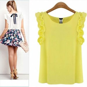 Faroonee Womens Lotus Leaus Leaf Pullover Camicia Chiffon New Fashion Female Blusa Plus Size Casual Summer Shirt Summer Shirt
