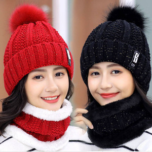 Winter Hat Womens Beanie Hats Thick Warm Skullies Winter Knitted Women Hat Letter Bonnet Beanie Cap Riding Hat Scarf Set