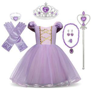 Маленькие девочки Рапунцель платье детей фантазия косплей костюм с лентами дети хэллоуин вечеринка одежда софия принцесса платья LJ200923