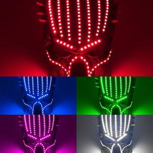 Predator Mask 2020 Face Hot 6 Cores Venda Halloween Luminosa LED Máscara 5V Filme Tema Cosplay Props Designer Face Máscaras