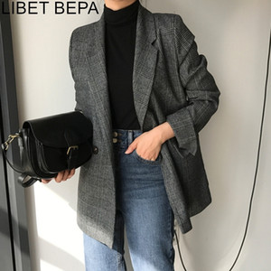 New Autumn Winter Women's Blazers Plaid Double Breasted Pockets Formal Jackets Notched Fashionable Outerwear Tops JK7113 201023