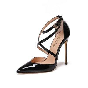 Free shipping fashion women Pumps Black patent leather Criss Cross point toe high heels pumps shoes 12cm 10cm 8cm party shoes