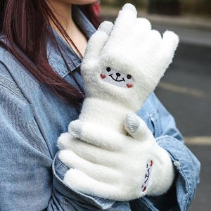 Winter Knitted Gloves Female Touch Screen Imitation Mink Plush Sweet Korean Style Embroidery Pattern Accessories Dividing Gloves