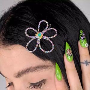 Flower Love Heart a forma di forcella San Valentino giorno regalo in lega di colore strass rhinestone bobby pin moda donna laterale clip accessori per capelli 2 16FS O2