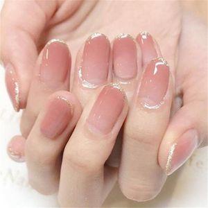 24Pcs Set Full Cover False Nail Gradients Pink Press Reusable Acrylic Peach Color Fake Nails French Style Stick On Nail Art
