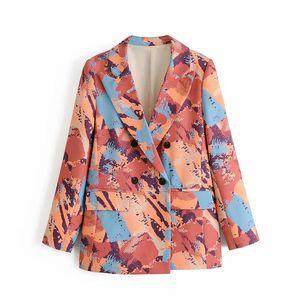 2021 New Tie Dye Women Long-fashion Blazer Fashion Loose Red Printing Suit Jackets Streetwear Ladies Fancy Blazers Girls 257S