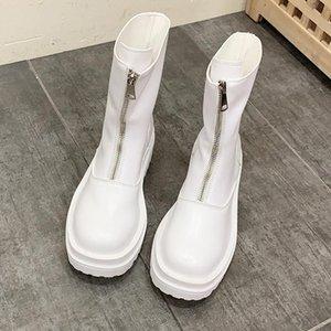 Manlegu Mujeres Botas de tobillo Zapatos Femeninos Diseño de marca Otoño Invierno Cálido Cuero genuino Grueso con botas cortas Motocicleta