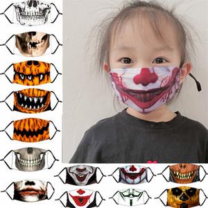 Смешные Хэллоуин маска тыквы Череп клоуна печати Маски Дети Adutls Face пылезащитные Anti-туман Маска для лица с РМ2,5 фильтра Washable Маски
