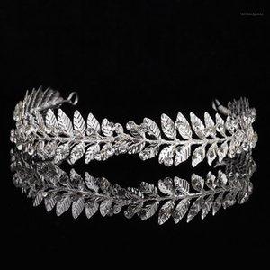 Bañadas de hojas de hoja únicas para mujeres Metal Rhinestone Princess Queen Crown Cabeza de boda Joyería de novia Accesorios para el cabello