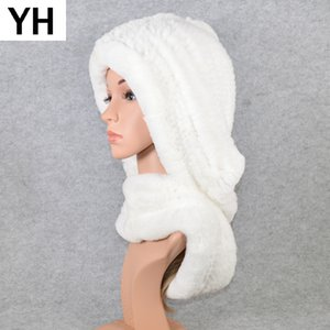 Women Winter Knitted Real Rex Rabbit Fur Hat Scarf Brand Rex Rabbit Fur Cap Scarves Quality Natural Rex Rabbit Fur Poncho 201019