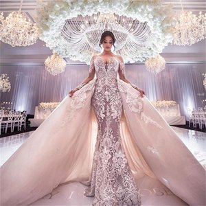 Champagne 2021 Wedding Dresses With Detachable Train Appliques Long Sleeves Mermaid Wedding Dress Jewel Neck Custom Made Robe De Mariee