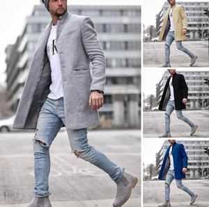 Men Solid Color Casual Wool Coat Male Long Wool Blends Coats Winter New Business Casual Overcoat