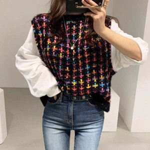 Woherb Fake 2 Piece Women Sweater Shirts Elegant Plaid Knitted Pullovers Patchwork White Puff Sleeve Blouse Korean Fashion 201006