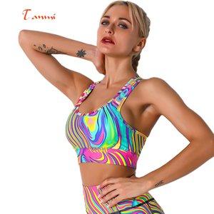 10 цветов Красочные Радуга спорта Нижнее белье Красивые цвета Йога Фитнес Top Printing Спорт бюстгальтер