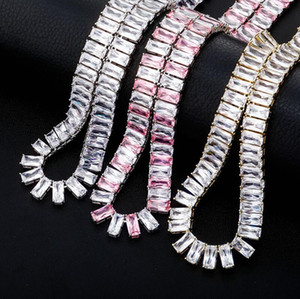Iced Out Bling Zircon 1 Row Tennis Chain Necklace Men Hip hop Jewelry Gold Silver Bicolor Necklace