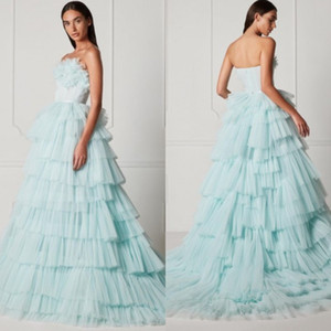 Tiered Tulle Dresses A Line Sky Blue Strapless Prom Dress Custom Made Fashion Evening Gowns For Birthday Party