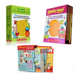 Sichtwort Tales 25 stücke Phonics Tales Alpha Tales Kinderspiele Englisch Word Study Story Bilderbuch Lernspielzeug für Kinder LJ201113