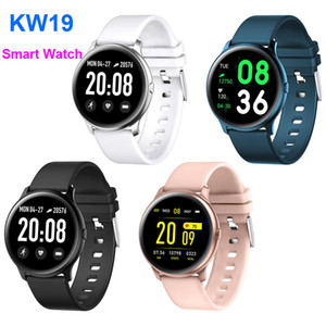 جديد KW19 الذكية سوار اللياقة البدنية تعقب ضغط الدم الدم الأكسجين معدل ضربات القلب للماء ل ios الروبوت مع مربع التجزئة
