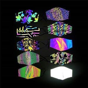 visage masque concepteur noël imprimé masque design réfléchissant coloré antipoussière bouche réglable laser masque lumineux LED masque facial en stock