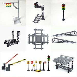 Tracks mini signs signal lamps Model trein Track Rail Road traffic lights Rails Building Block City Train Station