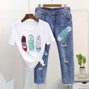 2018 Summer Women Fashion Shoes Pattern Short Sleeve T-shirt + Broken Hole Jeans Suit gIRL Students 2 Piece Suit1