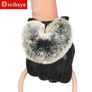 DICIHAYA Women's Winter Real Leather Gloves Fashion New Brand Black Genuine Goatskin Finger Gloves Warm Mittens New Hot Sale