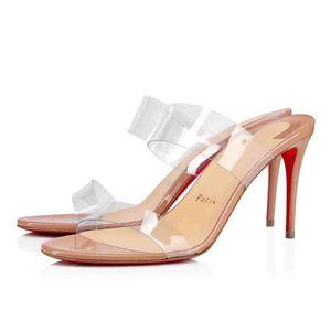 New Woman Sandales d'été Talons rouges Soles, Chaussures Bas Rouge « Just-rien » style cuir et sangles PVC, Sexy Lady Chaussures de soirée de mariage