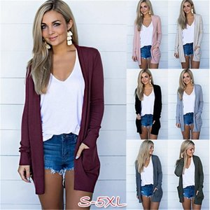 Automne Solide Cardigan Femmes Casual Manches Longs Colfless Grand Taille Vestes Manteau Loose Pocket Femmes Mince Open Stitch Top