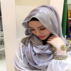 1 PCS Fashion Luxury Hot Gold Striped Scarf Women Shawl Plain Solid Chiffon Bandana Foulard Hijab Muslim Wraps1