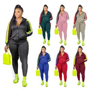 vêtements de femmes à manches longues sport Costume Tops quotidiens et Pantalons Lady Striped Imprimer 2020 Nouvelle et Automne Sports d'hiver ensemble deux pièces