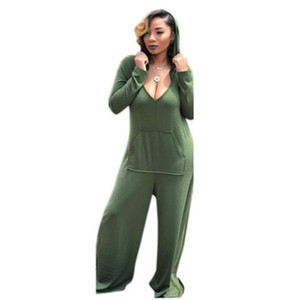 Women Casual Jumpsuit New Designer Sexy Deep V Wide Legs Trousers Solid Color Apparel Fashion Trend Rompers Hooded Pocket Loose Jumpsuits