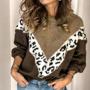 Frauenpullover Winter Warme Leopard Patchwork Oansatz Pullover Damen Langarm Strickpullover Pullover Weibliche Tops Jumper