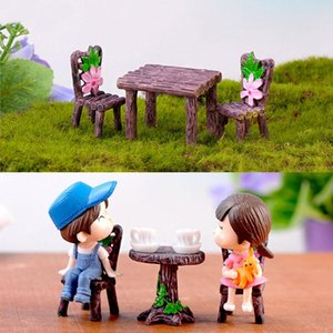 1 Set Miniatures DIY Material Wood Chairs Tables Resin Crafts Artificial Micro Landscape Home Garden Decorations Desk Stool