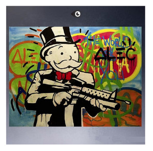 Framed &Unframed HUGE-GUN Amazing High Quality Hand Painted Home Decor Alec monopoly Graffiti Pop Art Wall Oil Painting On Canvas Multi Size