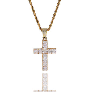 Shining Bling Diamond Stone Cross Pendants Necklace Platinum Plated Necklace Men Women Lover Gift Religious Jewelry