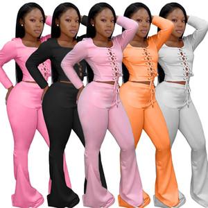 Calças flare Mulher designer Outsuits Primavera Outono Magro O-Neck cor sólida Mulheres manga comprida Dois conjuntos de peças