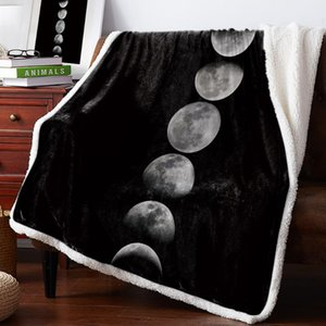 Winter Cashmere Blanket Full Moon Moon Process Black Bed Cover Bedspread Coverlet Throws Fleece Cover Wrap Improve Sleep Weighte