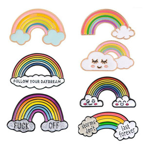Rainbow and Clouds Cartoon Rainbow Brooches Collection Fashion Metal Brooch Pins Badge Gifts for Women Men Children1