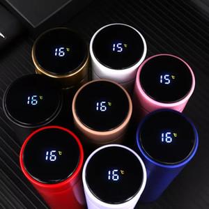 الذكية الترمس زجاجة 500ML فراغ درجة الحرارة قوارير أدى العرض الرقمية الفولاذ المقاوم للصدأ العزل أكواب أكواب الحرارية الذكية