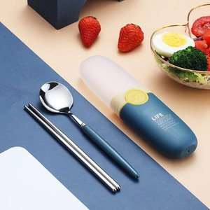 NEW 2 in 1 Simple Child Student Travel Portable 304 Stainless Steel Spoon Chopsticks Cutlery Set