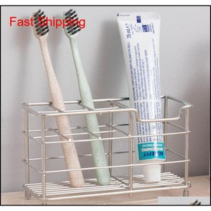 7 Slots Stainless Steel Toothbrush Holder, Toothpaste Holder Stand-Bathroom Multi-Function Stand Stander For Comb Or Electric Svayr