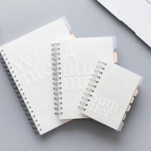 120 fogli B5 / A5 / A6 Notebook doppia bobina a fogli Memo Pad PP tasca della copertura Blank Book griglia orizzontale In Linea Pagina Planner
