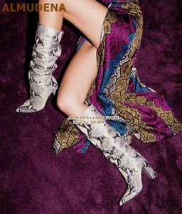 ALMUDENA White Black Snakeskin High Boots Yellow Python Printed Long Knee Boots Sexy Nightclub Dress Gladiator Shoes Pumps