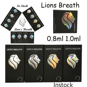 Lions Breath Vape Cartridges Packaging Disposable Vape Pens 0.8ml 1.0ml Round Press On 510 Thread Cartridges Empty Ceramic Carts Atomizer