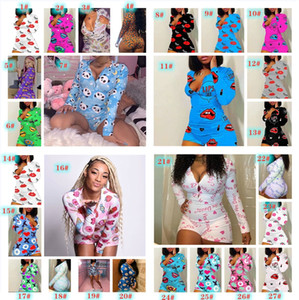 V Neck Skinny Rompers Style Ladies Clothes 2020 New Spring Summer Womens Designer Jumpsuits Sexy Lips Pattern Printed